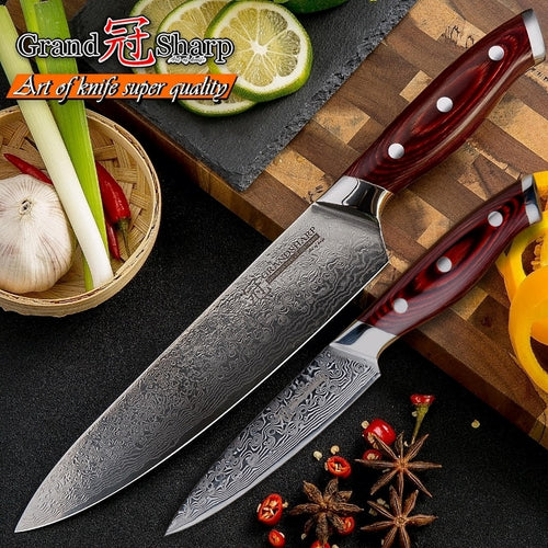 2 Pcs Japanese Damascus Stainless Steel Knife Set VG10  with Gift Box
