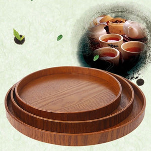 Wooden Round Kitchen Serving Tray Natural 3 Sizes