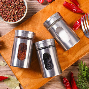 Stainless Steel and Glass Spice Storage Jars