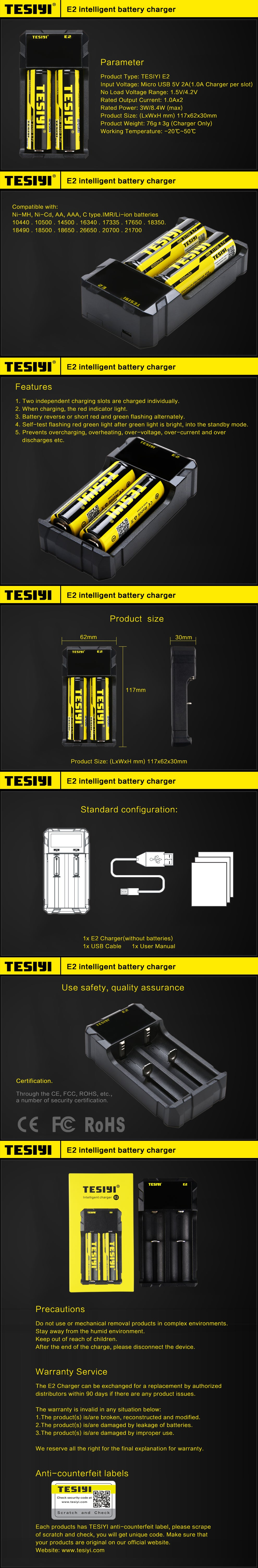TESIYI E2 Battery Charger Vaping Battery Charger
