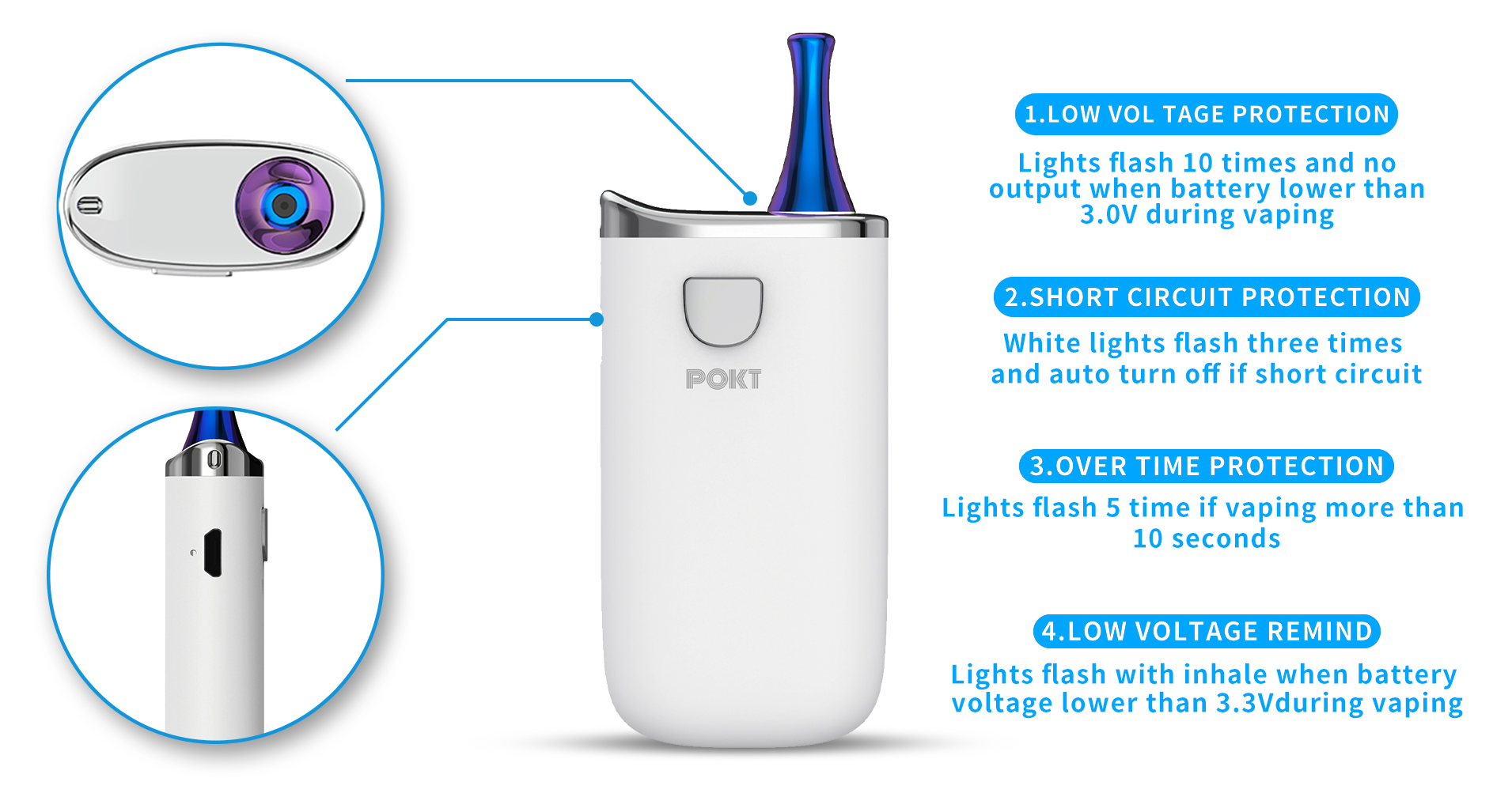 muilt protection of POKT Portable vaporizer