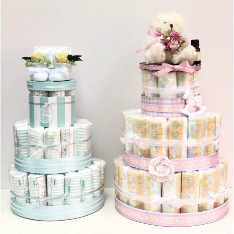 Baby Diaper Cake with preserved flower shoes (Blue)