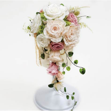 Teadrop White Bridal Bouquets