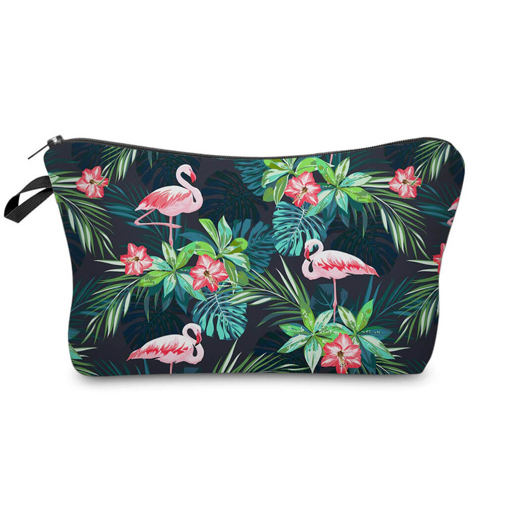 Trousse maquillage Flamant Rose <br/>Feuille