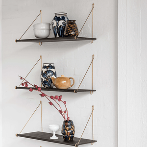 "wooden shelves with metal brackets, ""Loop"" dark Bamboo Shelf by We Do Wood_Nave Shop"