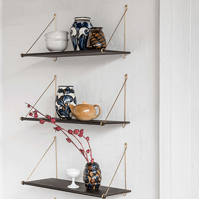 wooden shelves with metal brackets,