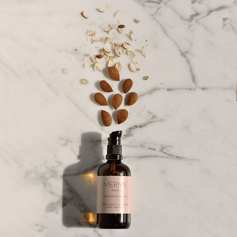 Nourishing Body Remedy; Organic and cold pressed sweet almond oil, by Merme Berlin, Clean Beauty, Nave Shop, online concept store