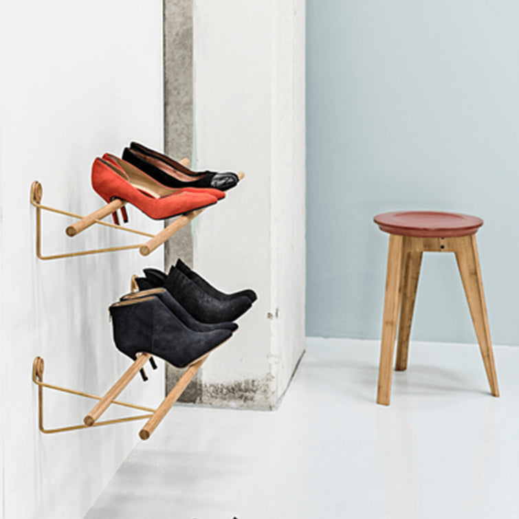Shoe Rack_Natural Bamboo_We Do Wood_Brass Bracket; Nave Shop - online concept store