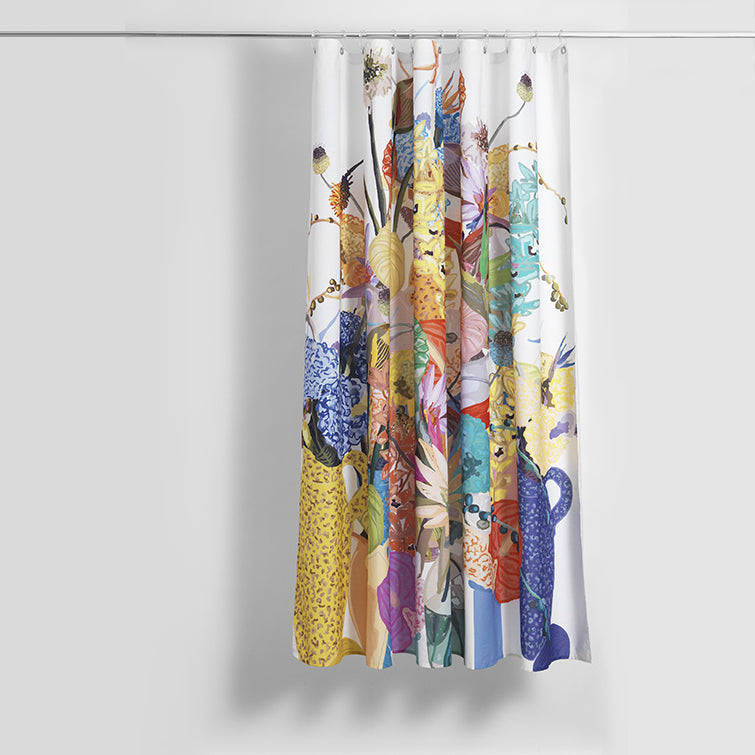 Blossom Artist Cotton Shower Curtain; plastic-free, bathroom, textile design, Nave Shop, online concept store