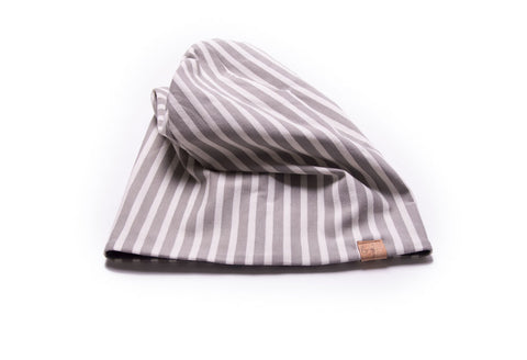 Reversible Beanie in Aligned in Grey + Charcoal Marl