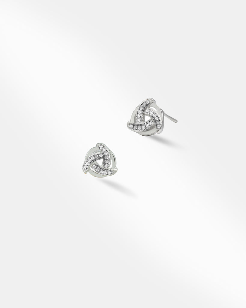 Heart-Shaped Love Knot Stud Earrings