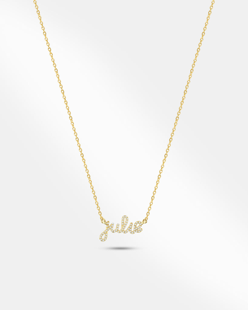 Lowercase Script Pave Necklace