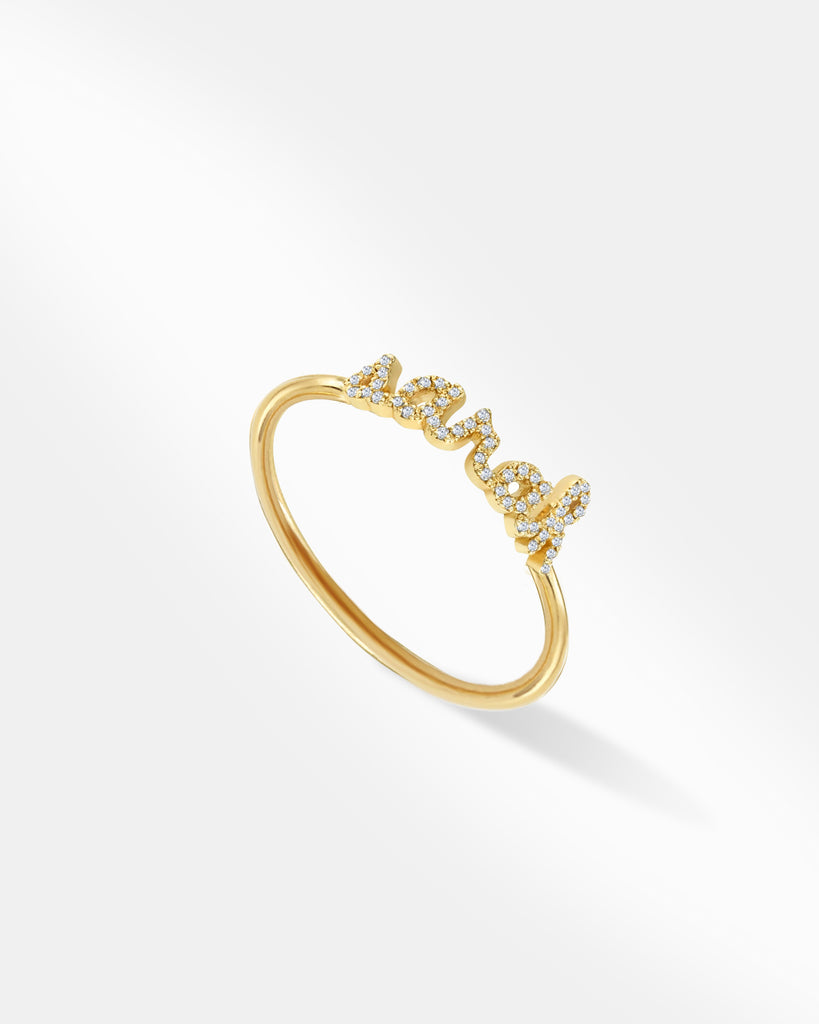 The Personalized Lowercase Script Pave Name Ring