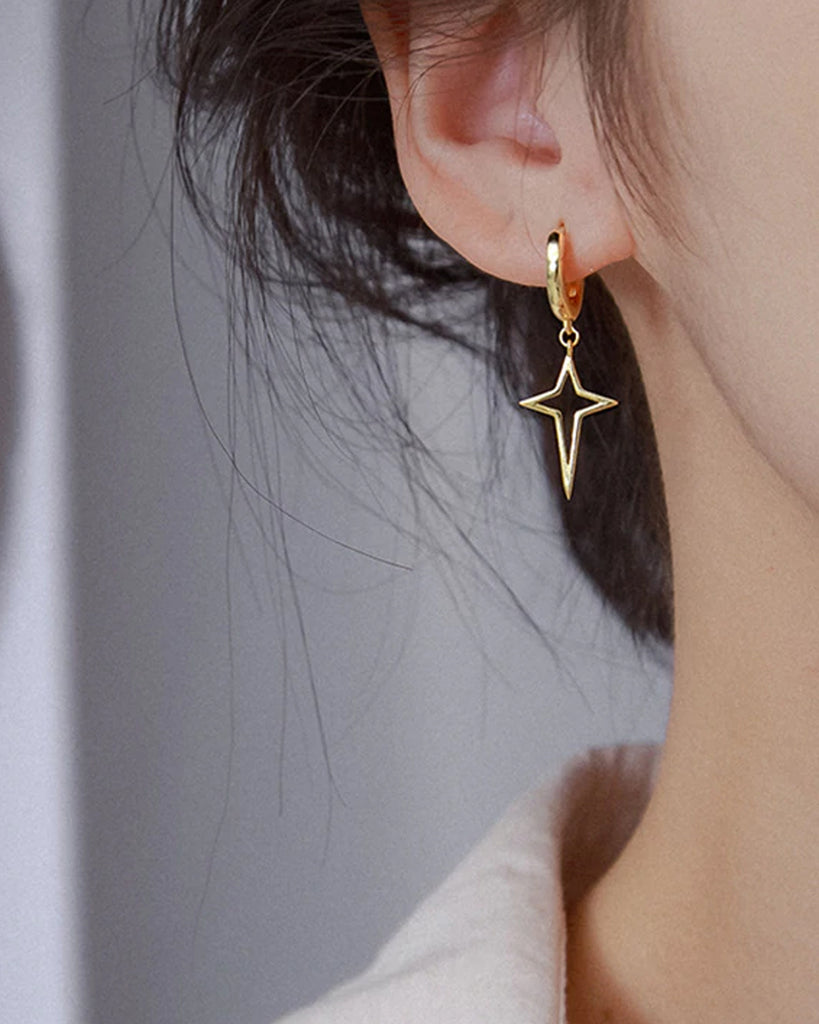 Hollow Star Cross Hoop Earrings.