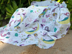 Mermaid Lullaby Organic Muslin Blanket