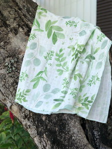 Watercolor Leaves Organic Muslin Blanket