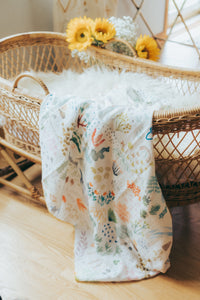 Watercolor Fields Organic Muslin Swaddle