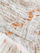Load image into Gallery viewer, Organic Muslin Playful Fox Swaddle