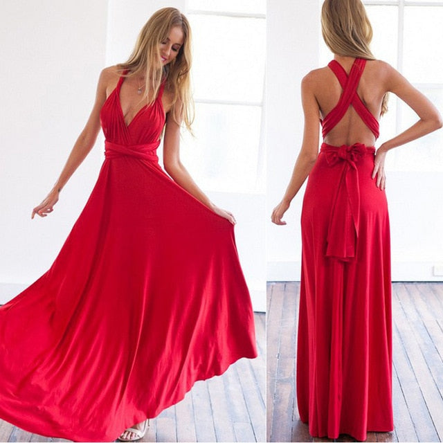 Multiway Wrap Convertible Boho Maxi Club Red Dress