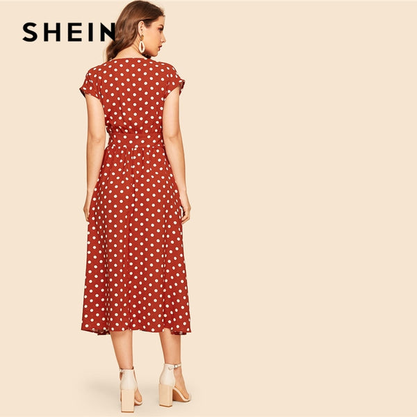 SHEIN Vintage Rust Polka-dot Print Belted Shirt Button Dress Women 2019 Summer Cap Sleeve V Neck Long Solid Shift Dresses