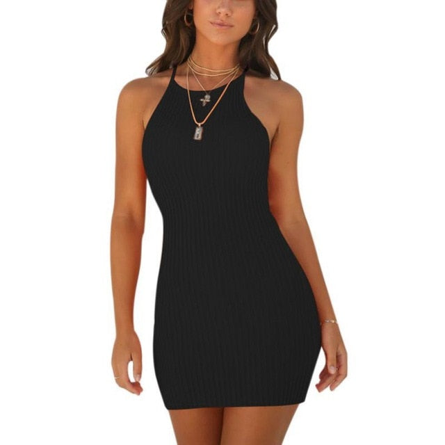 Sexy Backless Basic Dresses Bodycon Dress Strap