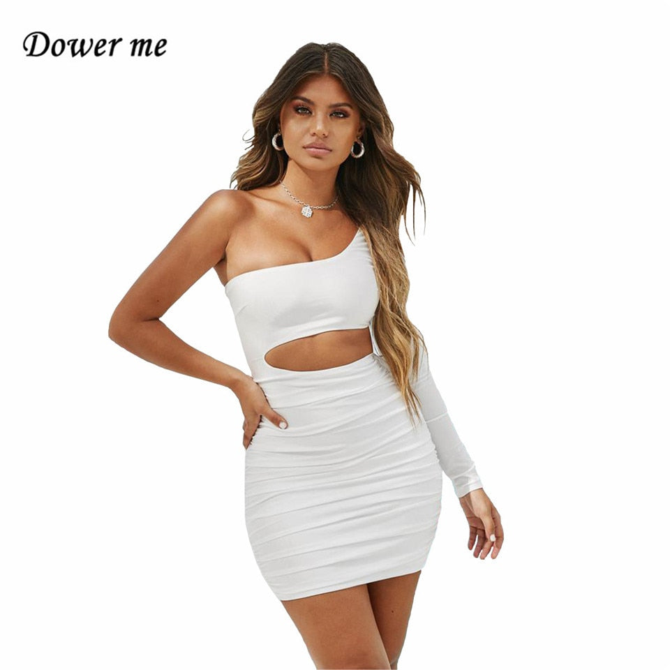 Dower me One Shoulder Summer dresses High Elastic Long sleeve Knee-Length Casual Hollow out white women Short party Dress Y009