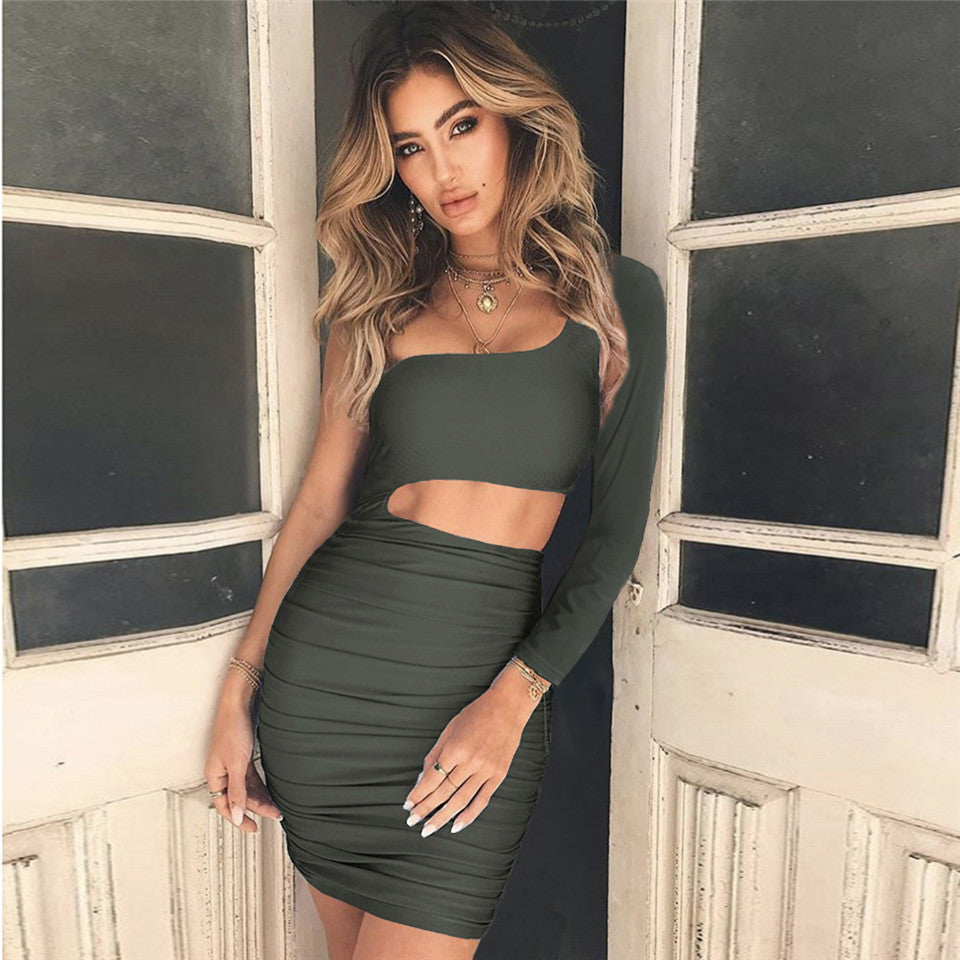 24abf54fa9b50 Dower me One Shoulder Summer dresses High Elastic Long sleeve Knee-Length  Casual Hollow out white women Short party Dress Y009
