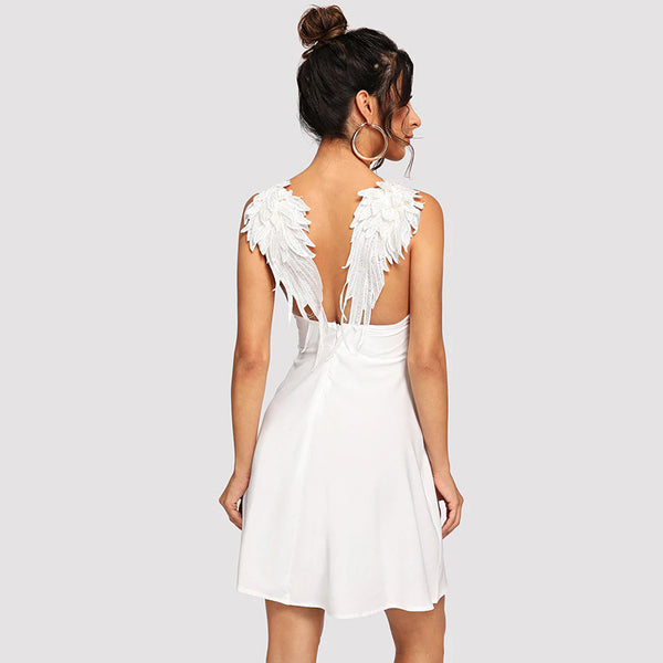 Summer New Contrast Wing Back Feather Sexy Dresses Party Night Club Clothes Summer Night Out Sleeveless Plain Dress