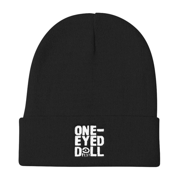 Embroidered Logo Knit Cap - Choose Your Color! - Black - Hat beanie DROPSHIPPED FEATURED hat knit One-Eyed Doll