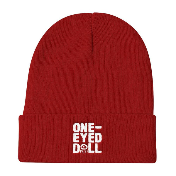 Embroidered Logo Knit Cap - Choose Your Color! - Red - Hat beanie DROPSHIPPED FEATURED hat knit One-Eyed Doll