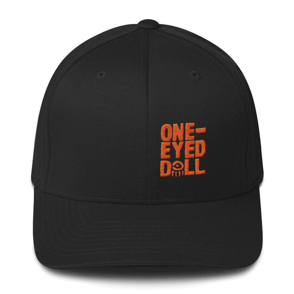 Embroidered Orange Logo Flex-Fit Cap - Black / S/m - Halloween Halloween Dropshipped Hat Pf Dropshipped One-Eyed Doll