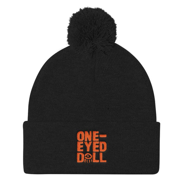 Embroidered Orange Logo Pom Pom Knit Cap - Black - Dropshipped Halloween New Pumpkin Sale One-Eyed Doll