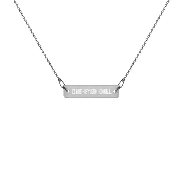 Engraved Silver Bar Chain Necklace - Black Rhodium coating / 16 - jewelry One-Eyed Doll