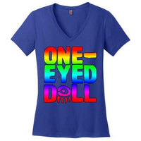 Rainbow Logo Ladies V-Neck T-Shirt (Up To 4X) - Deep Royal / Xs - Shirt Dropshipped Featured Ladies Plus Sizes Rainbow One-Eyed Doll