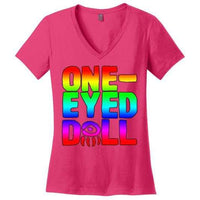 Rainbow Logo Ladies V-Neck T-Shirt (Up To 4X) - Dark Fuchsia / Xs - Shirt Dropshipped Featured Ladies Plus Sizes Rainbow One-Eyed Doll