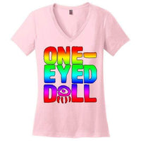 Rainbow Logo Ladies V-Neck T-Shirt (Up To 4X) - Light Pink / S - Shirt Dropshipped Featured Ladies Plus Sizes Rainbow One-Eyed Doll