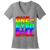 Rainbow Logo Ladies V-Neck T-Shirt (Up To 4X) - Heathered Nickel / Xs - Shirt Dropshipped Featured Ladies Plus Sizes Rainbow One-Eyed Doll
