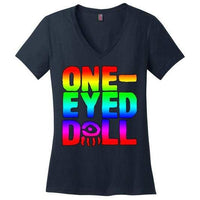 Rainbow Logo Ladies V-Neck T-Shirt (Up To 4X) - Navy / Xs - Shirt Dropshipped Featured Ladies Plus Sizes Rainbow One-Eyed Doll