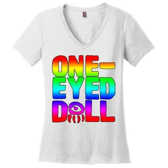 Rainbow Logo Ladies V-Neck T-Shirt (Up To 4X) - White / Xs - Shirt Dropshipped Featured Ladies Plus Sizes Rainbow One-Eyed Doll