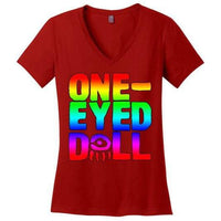 Rainbow Logo Ladies V-Neck T-Shirt (Up To 4X) - Red / Xs - Shirt Dropshipped Featured Ladies Plus Sizes Rainbow One-Eyed Doll