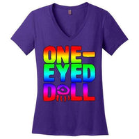 Rainbow Logo Ladies V-Neck T-Shirt (Up To 4X) - Purple / S - Shirt Dropshipped Featured Ladies Plus Sizes Rainbow One-Eyed Doll
