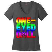 Rainbow Logo Ladies V-Neck T-Shirt (Up To 4X) - Charcoal / Xs - Shirt Dropshipped Featured Ladies Plus Sizes Rainbow One-Eyed Doll