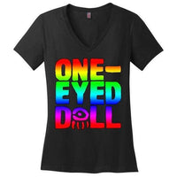 Rainbow Logo Ladies V-Neck T-Shirt (Up To 4X) - Black / Xs - Shirt Dropshipped Featured Ladies Plus Sizes Rainbow One-Eyed Doll