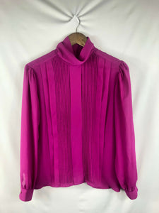 High Neck Magenta Blouse- Size: Vintage 8 *Modern Best Fits: Small
