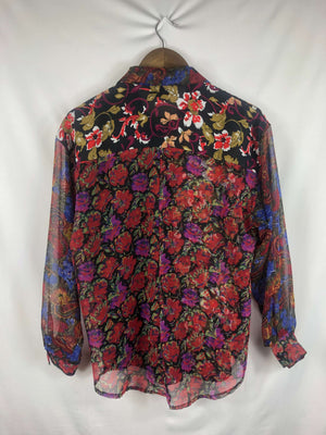 Multi-Print Button Up Blouse -Size: Medium