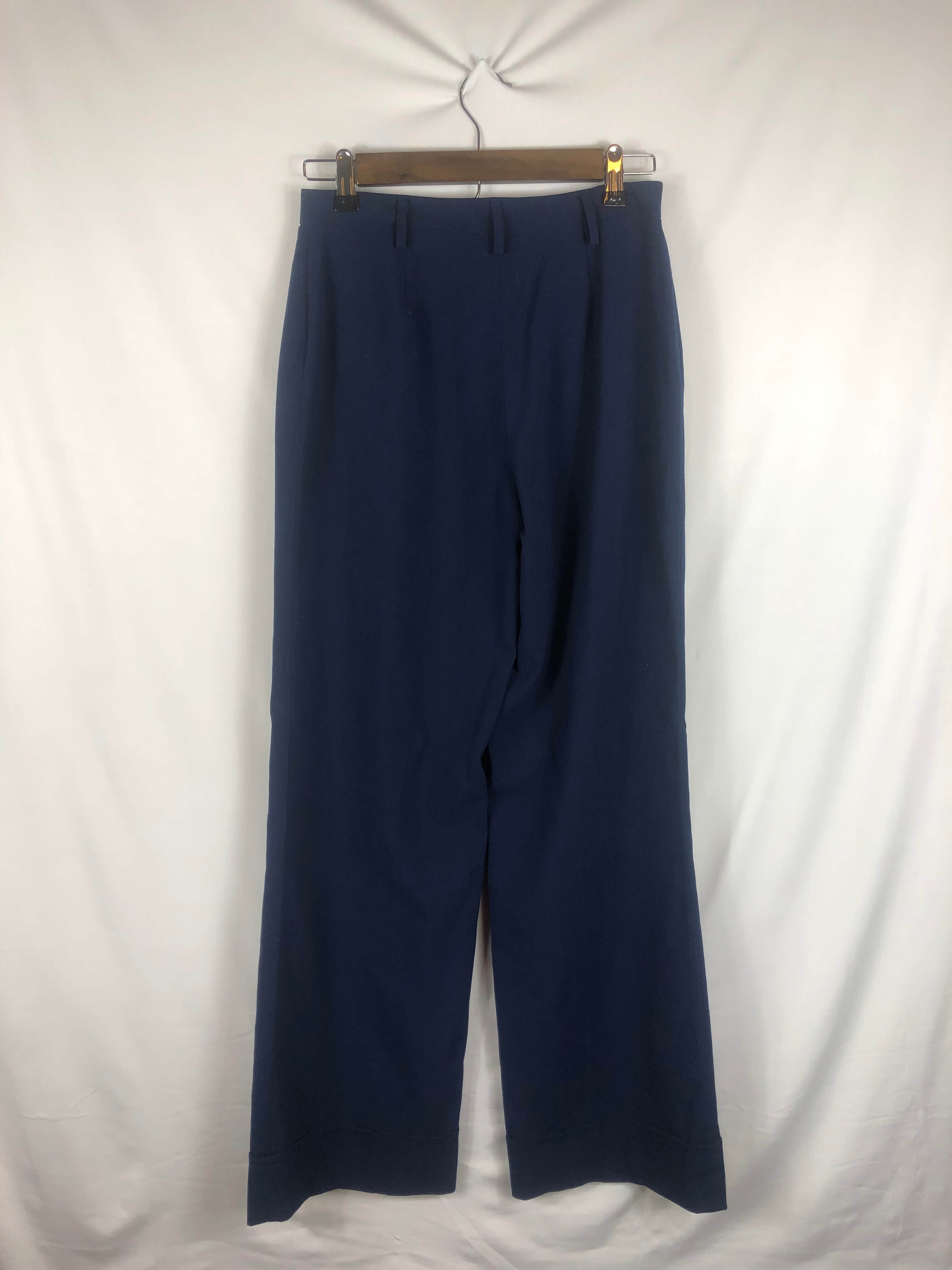 Wide Leg High-Waisted Navy Pant - Size: Vintage 4 *Modern Best Fit: 0