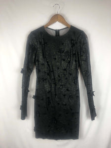 Floral Cut Out Leather Dress W/Sheer Back -Size: 0
