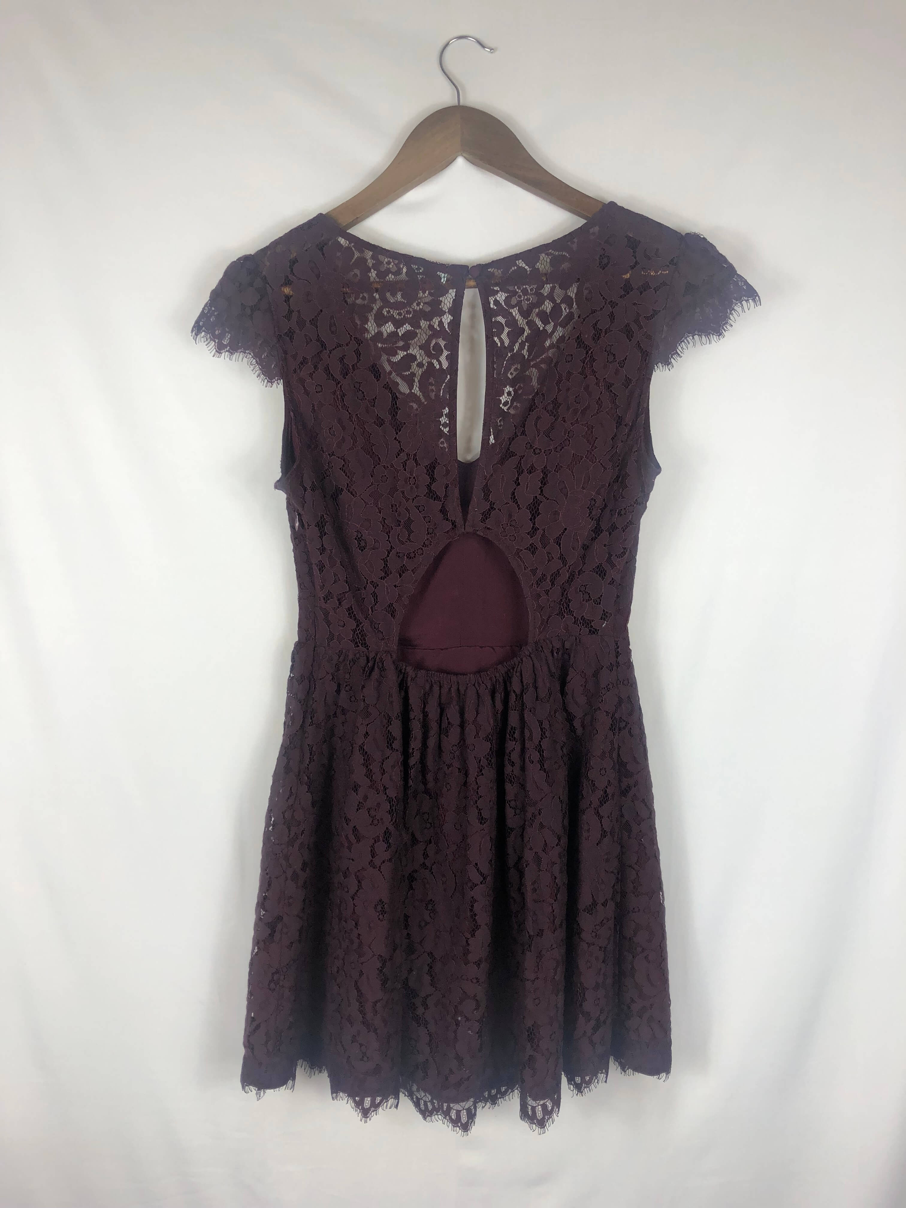 Allover Lace Maroon Dress- Small