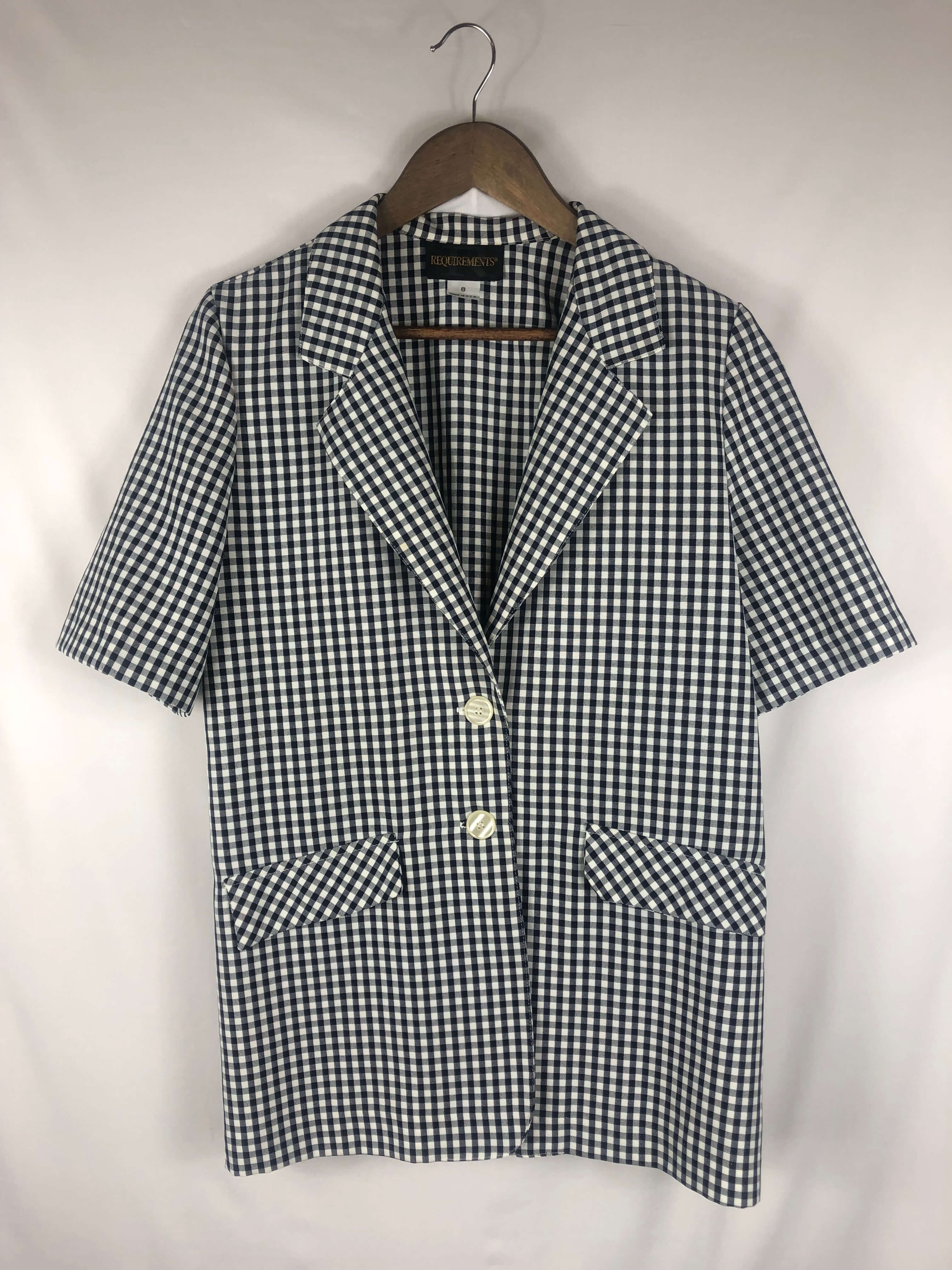 Picnic Print Short Sleeve Jacket - Size: Vintage 8 *Modern Best Fits: Small