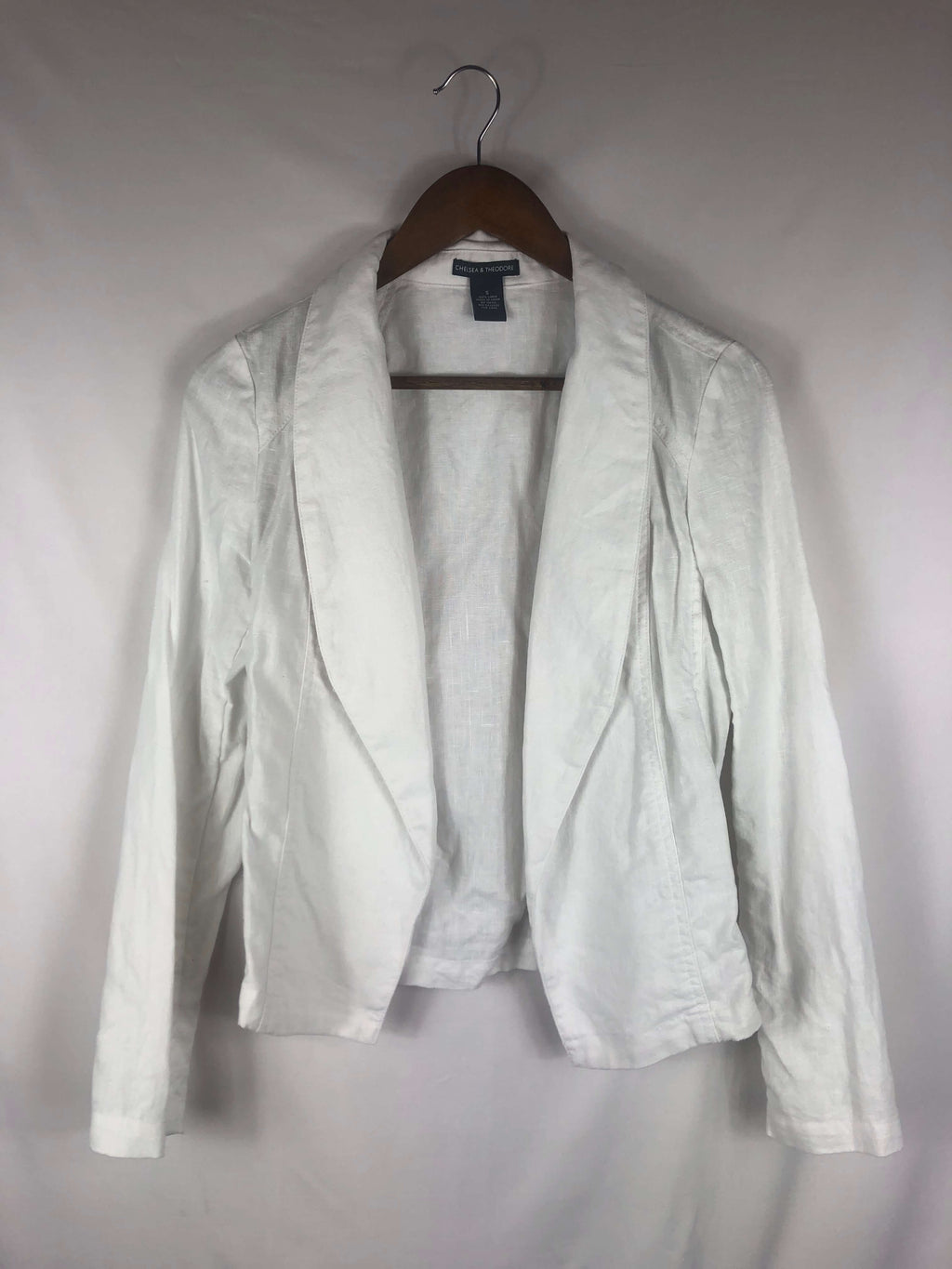Linen White Blazer Jacket-Size: Small